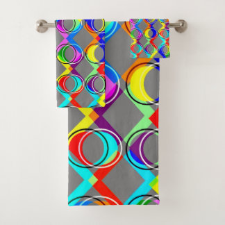 Rainbow Lattice and Circles Bath Towel Set