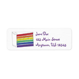 Rainbow Layer Cake Slice Pride Labels