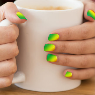 Rainbow Lemon Lime Stripes Minx Nail Art