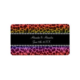 Rainbow leopard pattern wedding favors address label