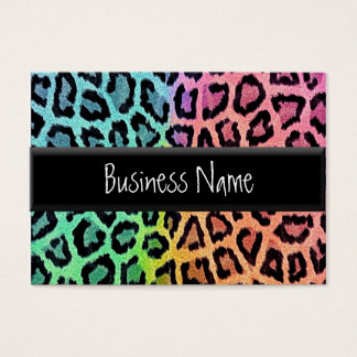 rainbow leopard print business card