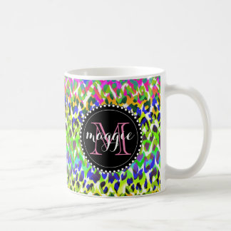 Rainbow Leopard Print Monogram pattern Basic White Mug