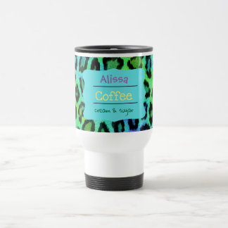 Rainbow Leopard Travel Coffee Mug