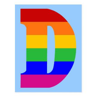 Rainbow Letter D Postcard