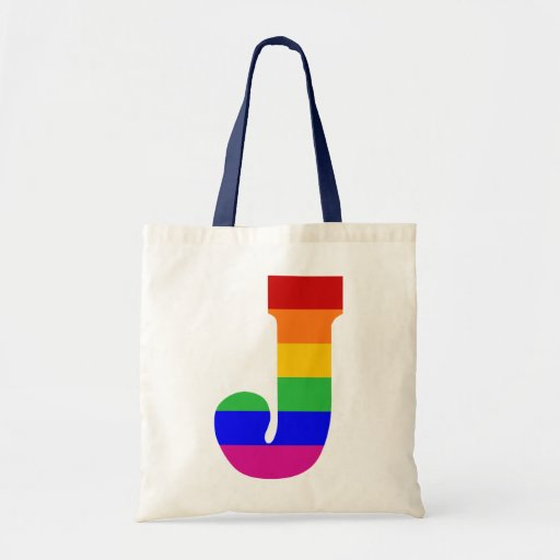 Rainbow Letter J Canvas Bags
