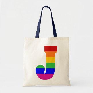 Rainbow Letter J Budget Tote Bag