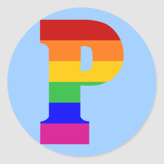 Rainbow Letter P Classic Round Sticker