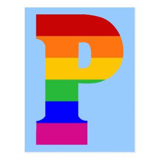 Rainbow Letter P Postcard