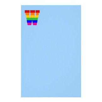 Rainbow Letter W Personalized Stationery