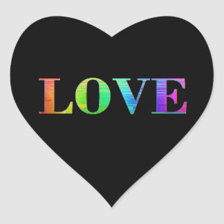 Rainbow LGBT Love Black Colors Heart Stickers