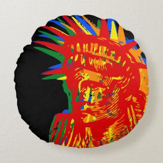 RAINBOW LIBERTY POP ART ROUND CUSHION