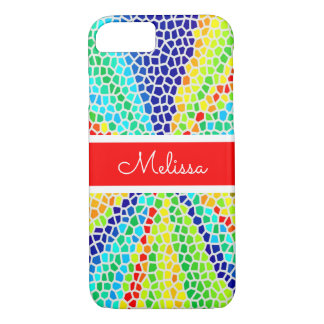 Rainbow Light Mosaic Monogram iPhone 8/7 Case