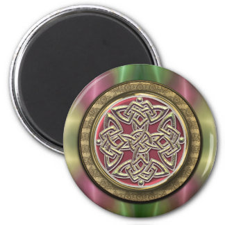 Rainbow Lights Gold Stone Celtic Shield Knot Magnet