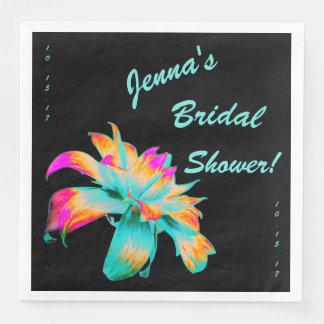 Rainbow Lily on Black Bridal Shower Napkins Disposable Napkins