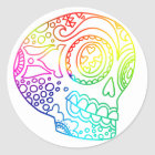 Rainbow Lines Sugar Skull in Love Classic Round Sticker