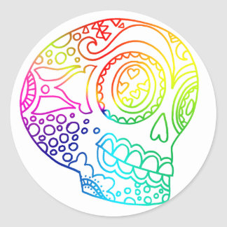 Rainbow Lines Sugar Skull in Love Classic Round Sticker