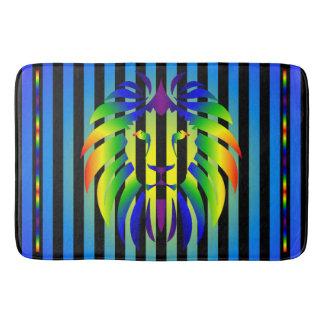 Rainbow Lion Sunset and Stripes Bath Mat