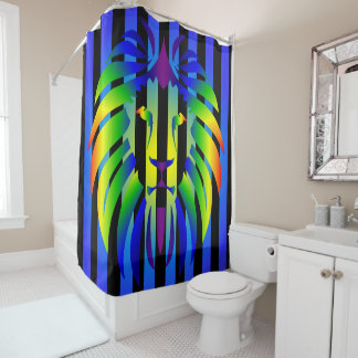 Rainbow Lion Sunset and Stripes Shower Curtain