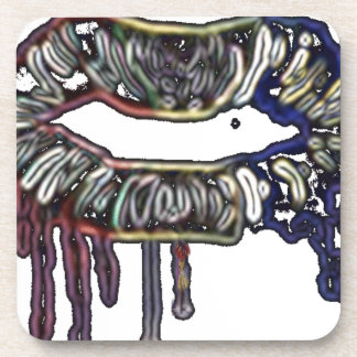 Rainbow lips design coaster
