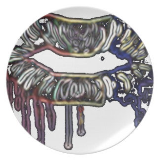 Rainbow lips design plate