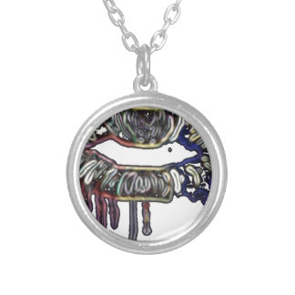 Rainbow lips design silver plated necklace