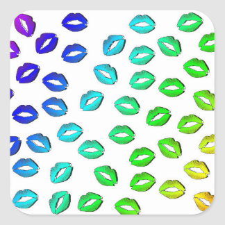 Rainbow Lips Square Sticker
