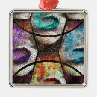 Rainbow Lips Vape Silver-Colored Square Decoration
