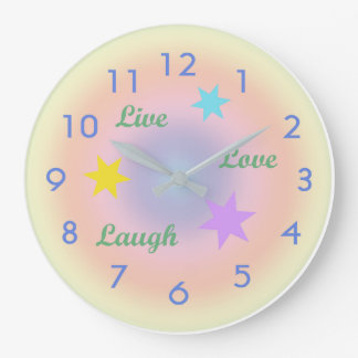 Rainbow Live-Love-Laugh Large Clock