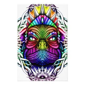 Rainbow Lizard King in Artistic Colorful Eye Frame Stationery