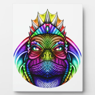Rainbow Lizard King Wearing a Crown Trippy Display Plaques