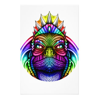 Rainbow Lizard King Wearing a Crown Trippy Stationery