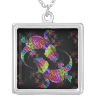 Rainbow Lizards Silver Plated Necklace