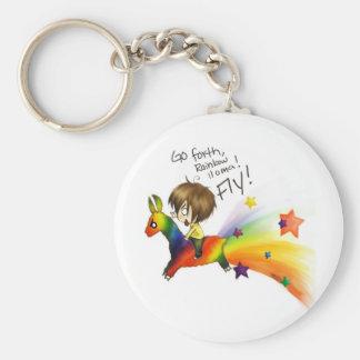 Rainbow Llama Key Ring