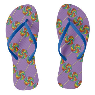 Rainbow Lollipop Lolly Candy Print Purple Pride Thongs