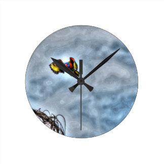 RAINBOW LORIKEET IN FLIGHT AUSTRALIA ART EFFECTS WALL CLOCK