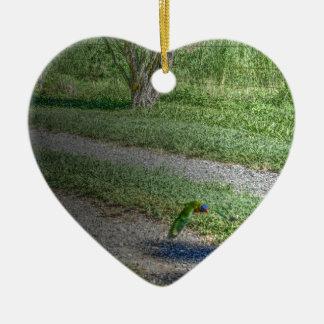 RAINBOW LORIKEET QUEENSLAND AUSTRALIA ART EFFECTS CERAMIC HEART DECORATION