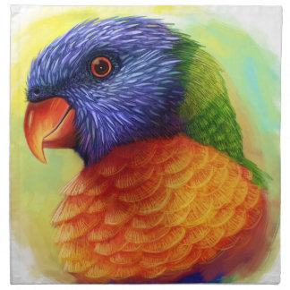 Rainbow lorikeet realistic painting napkins