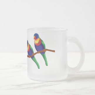 Rainbow lorikeets frosted glass coffee mug