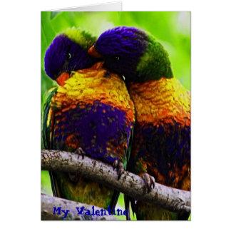 Rainbow Lorikeets, My Valentine Greeting Card