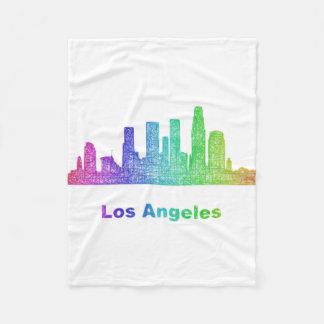 Rainbow Los Angeles skyline Fleece Blanket