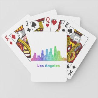 Rainbow Los Angeles skyline Poker Deck