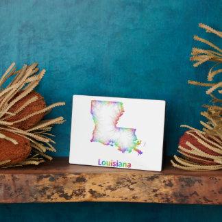 Rainbow Louisiana map Plaque