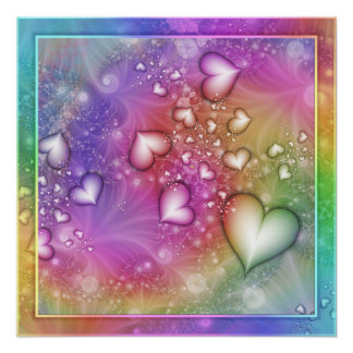 Rainbow Love Fractal Poster