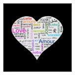 Rainbow Love Heart Typography Poster
