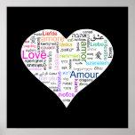 Rainbow Love Heart Typography Posters