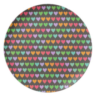 Rainbow Love Hearts Colorful Fun Pattern Chic Cute Plates