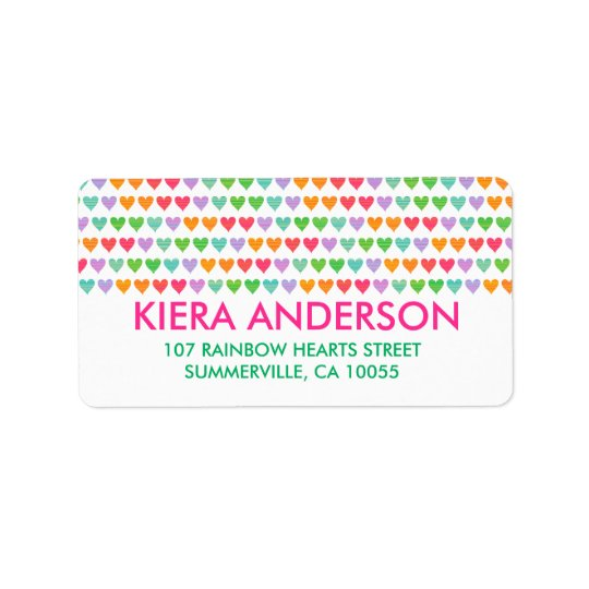 Rainbow Love Hearts Colourful Fun Pattern Chic Address Label