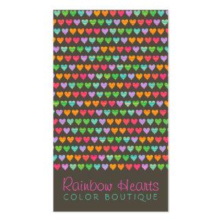 Rainbow Love Hearts Fun Colorful Profile Card Business Card