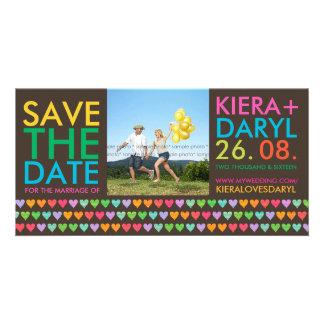 Rainbow Love Hearts Save The Date Photo Card Custom Photo Card
