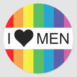 rainbow love. i heart men. classic round sticker